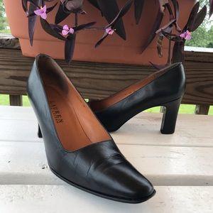 Ralph Lauren Black Leather SquareToe Heels Pumps